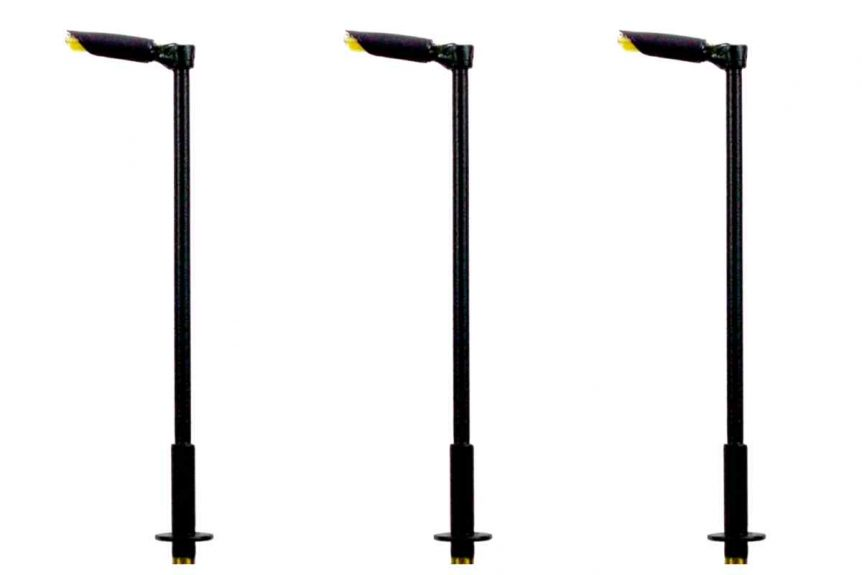 A pack of 3. N Gauge Modern Tall Straight Arm Street and Station Lamp designed to give your layout an added depth of realism.